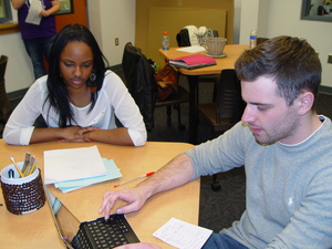 Writing Center Tutor and Student