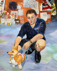 Painting of man kneeling with dog at firehouse