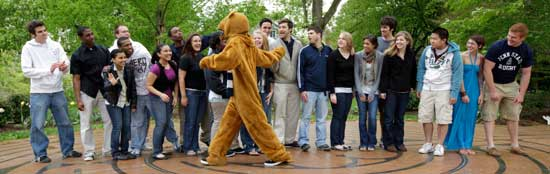 students with Nittany Lion at the Labyrinth