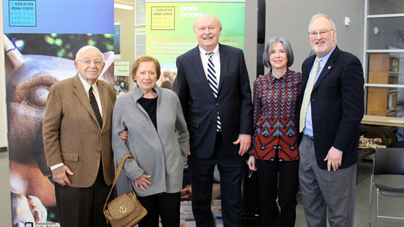 From left to right: Irv and Lois Cohen, Chancellor Hillkirk, Dena Hammel and Victor Hammel. The Cohens and Hammels have made a combined gift of $3 million to Penn State Berks, which will help create the Cohen-Hammel Fellowship Program.