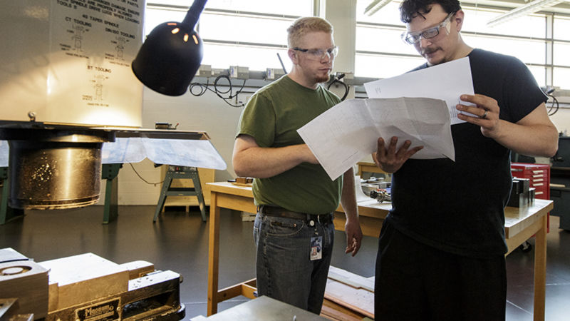 A professor and a student in one of the Engineering labs at Penn State Berks