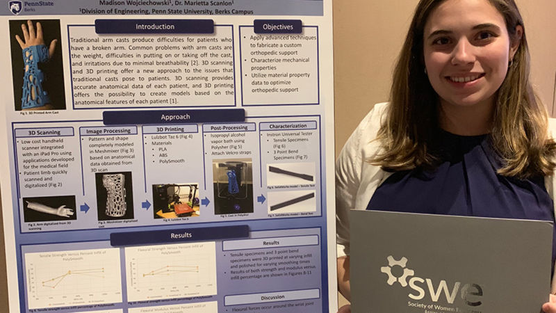 Madison Wojciechowski a junior in mechanical engineering at Penn State Berks, was selected as a finalist to present her research at a Society of Women Engineers WE Local Conferenc
