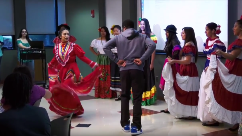 Students dancing at the Multicultural Fashion Show