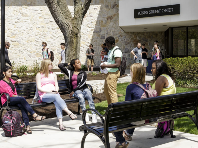 Students outside Perkins Student Center