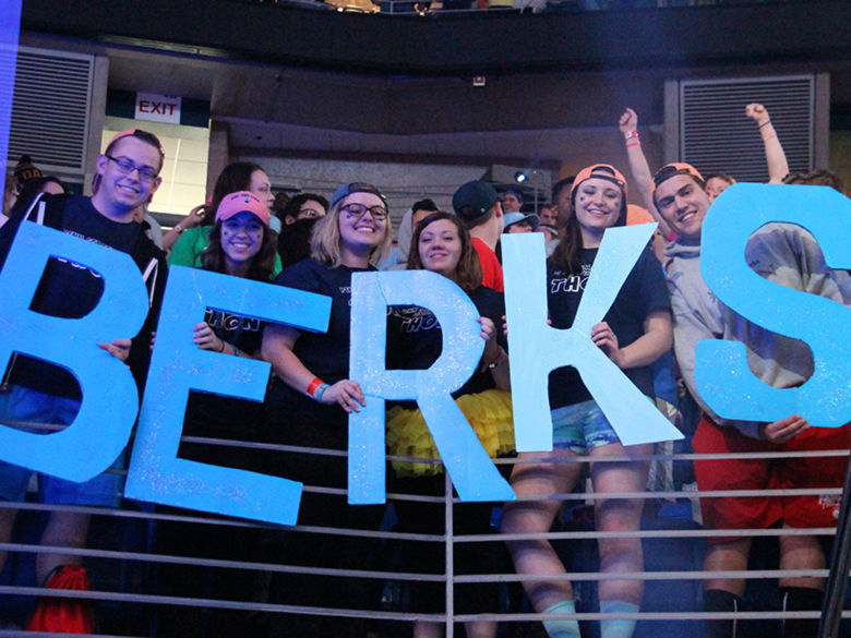 Students display the word Berks in the crowd at THON