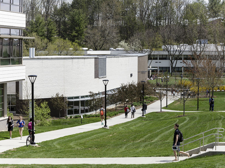 A look down campus from the Franco building