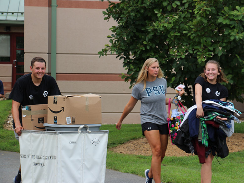 Unpacking on Move In Day in the Village dorms