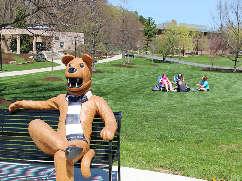 Penn State Berks Lion Bench in the spring