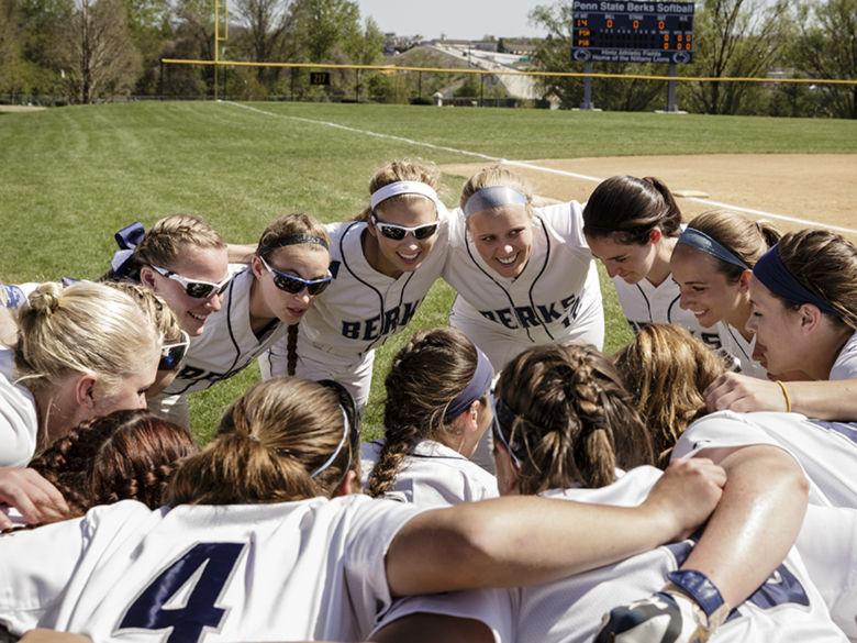 Penn State Berks Softball team huddle