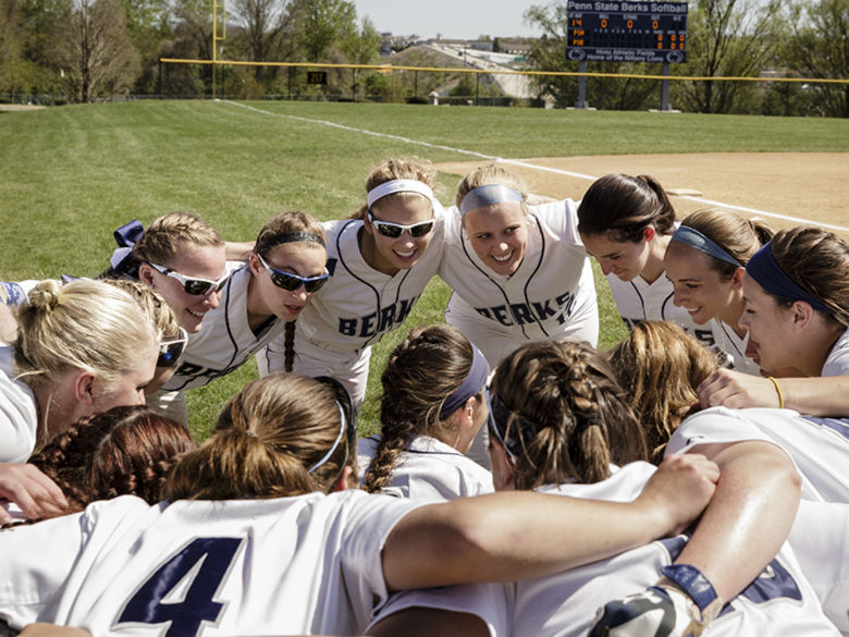 Penn State Berks Softball team huddle