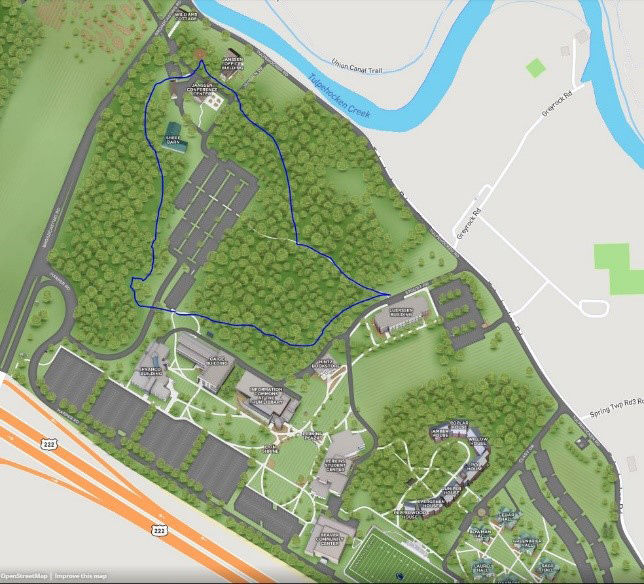A new map highlights the route of the Penn State Berks campus walking trail.