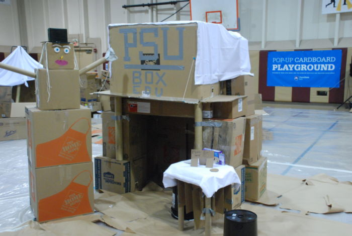 Cardboard box fort and snowman