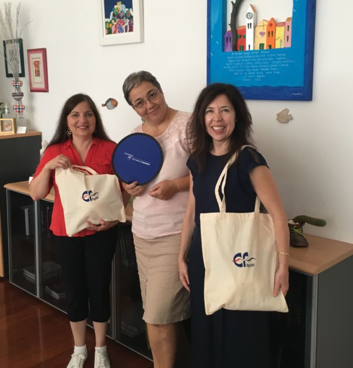 Two Berks Professors exchange gifts with the dean of the faculty of economics at the University of Split
