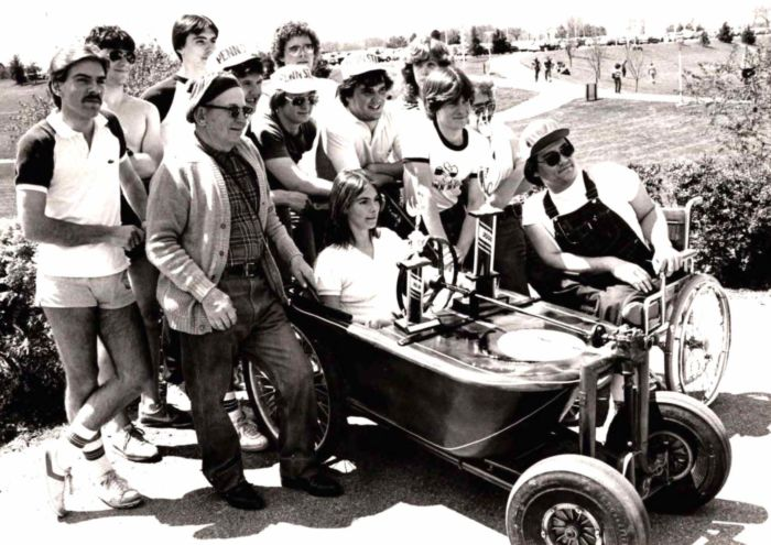 "Students in the bath tub derby ""race car"" they designed"