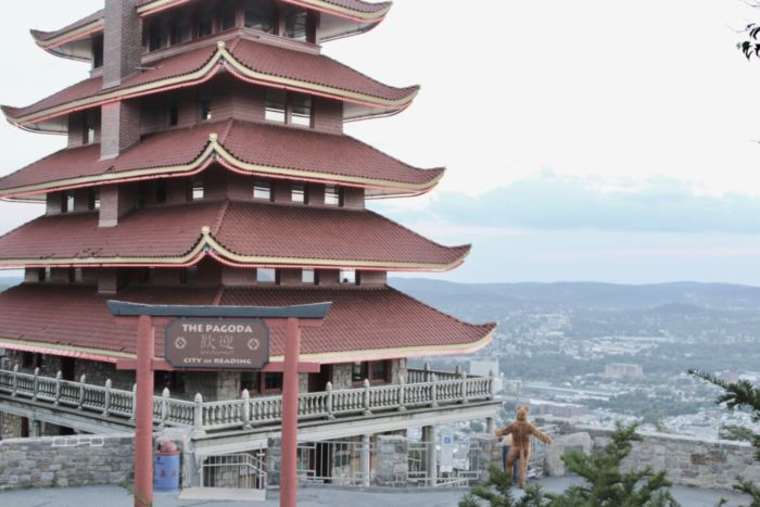 The Nittany Lion visits the Pagoda
