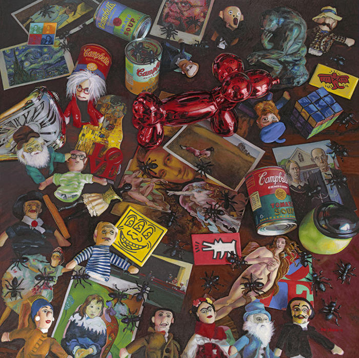 A still life painting by Steve Scheuring, showing postcards, cans of soup, dolls and other assorted objects scattered on a tabletop
