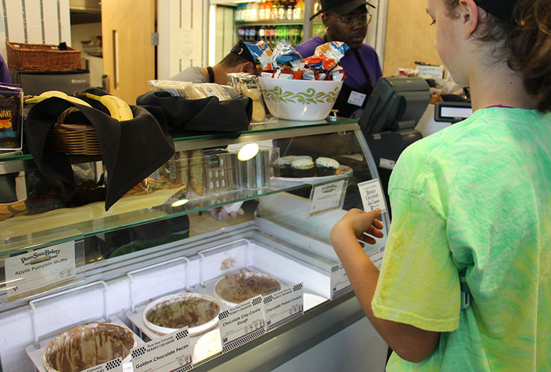 a student orders ice cream at the cyber cafe
