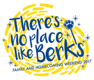 "yellow brick road pattern with words ""There's No Place Like Berks: Family and Homecoming Weekend 2017"
