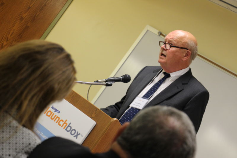 Dr. Hillkirk speaking to the attendees of the Langan Launchbox dedication ceremony