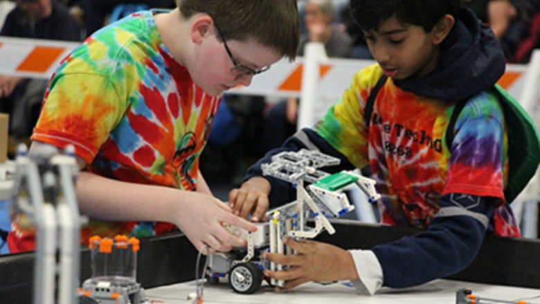 Students participate in First Lego League