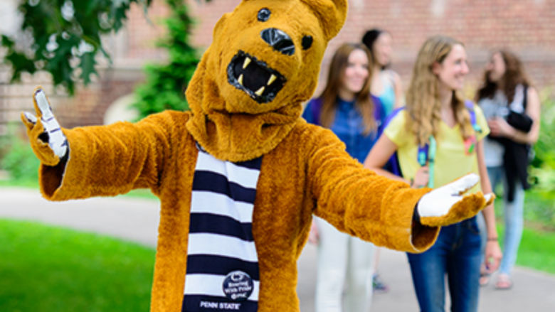 Nittany Lion welcomes students on campus.