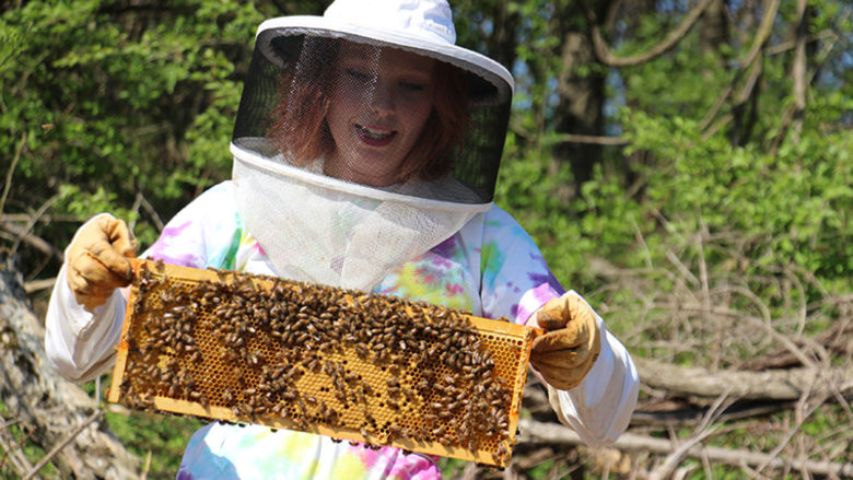 Cassandra Carnell checks her bee boxes on campus
