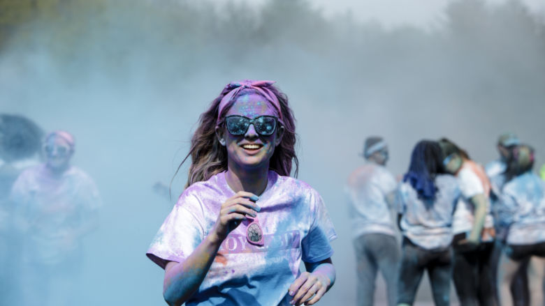 student at color run