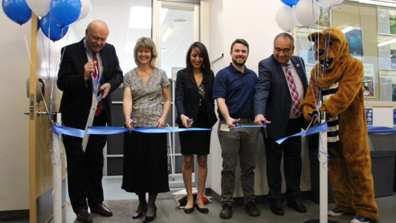 The ribbon-cutting ceremony included the Chancellor and professors
