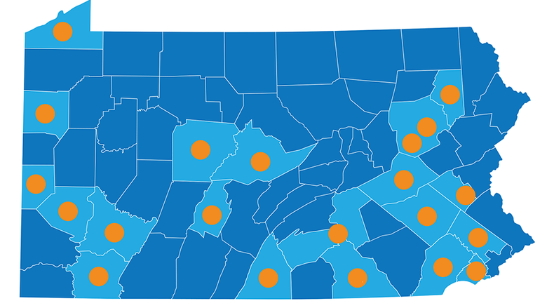 A map of the innovation hub locations across Pennsylvania