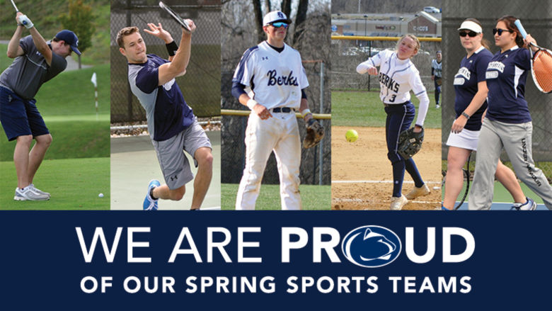"photos of students playing gold, men's tennis, baseball, softball, and women's tennis above a banner that says ""We are proud of our spring sports teams"""
