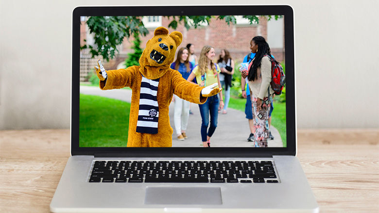 Photo of Nittany Lion on laptop screen