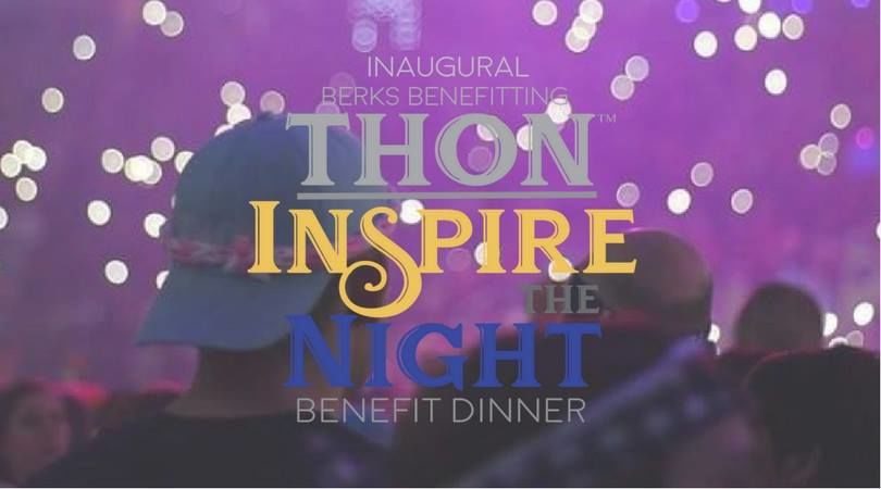 "A student at THON, with the text ""Inaugural Berks benefitting THON  Inspire the Night dinner fundraiser"""