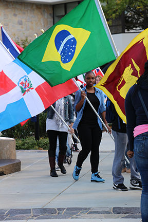 students holding flags during Unity Day